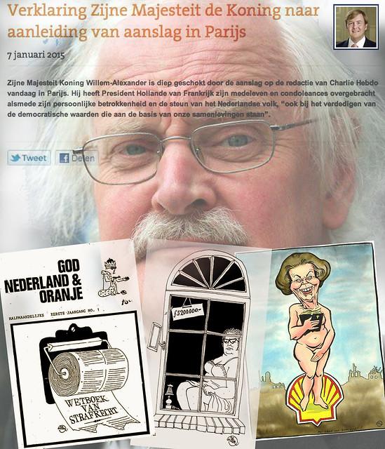 Charlie Hebdo cartoonist van het eerste uur Willem ontsnapte aan executie maar wordt toch Koninklijk genegeerd