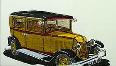 Renault KZ6 Primaquatre -1931 - 11cv (Jean-Paul Rivière) Tags: car sketch renault croquis pittartistpen primaquatre