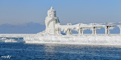 """Winters Icy Grip"" St. Joseph, Michigan (Michigan Nut) Tags: winter usa lighthouse snow cold ice nature landscape frozen michigan freezing stjoseph lakemichigan icy"