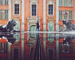 street city urban man reflection wet fountain statue... (Photo: ewitsoe on Flickr)