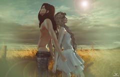 Ren and Yeri~Side by Side.... (Skip Staheli (Clientlist closed)) Tags: summer love grass couple emotion avatar sl secondlife lensflare romantic feelings virtualworld skipstaheli yeriakthcouturier renmatsura
