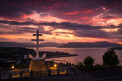 The Free French Memorial (GenerationX) Tags: sunset sea sky mountains water statue clouds river landscape outdoors evening scotland clyde greenock purple unitedkingdom dusk scottish neil hills anchor gb rays gourock barr gloaming kilcreggan inverclyde firthofclyde lylehill crossoflorraine rosneathpeninsula freefrenchmemorial canon6d gourockbay