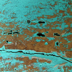 a rifle, two very different shoes, a shoeprint and something else (vertblu) Tags: wood brown abstract texture paint hole turquoise teal holes textures abstraction peelingpaint remains cleft abstrakt fissure oldpaint trkis paintedwood 500x500 weatheredpaint fissured texturesquared aglitchinthesystemanabstractviewofdailylife vertblu