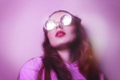 Space Rainbow (TheJennire) Tags: camera pink light portrait people luz face sunglasses fashion canon hair cores photography photo colours foto photoshoot pastel space dream young makeup style shades colores teen filter ethereal indie dreamy fotografia camara cabelo pelo cabello tumblr