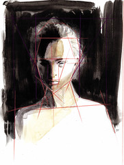 Hodaya Louis — Coming Out of the Dark, 2015. Painting: acrylic, watercolor, colored pencil and ink on paper, 18 x 13.5 in..  Using acrylic, watercolor and pencils I created a portrait with elements of industrial design graphics to hint at the topic of wha (ArtAppreciated) Tags: light shadow abstract art lines contrast pencil ink portraits watercolor painting louis acrylic contemporary fineart blogs american portraiture artists expressionism expressionist colored abstraction minimalism figurative 2015 hodaya artblogs representational tumblr 2010s artoftheday artofdarkness date2015 artappreciated artofdarknessco artofdarknessblog