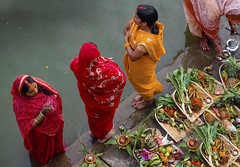 chhath puja (areacode) Tags: india festival women mothers offering varanasi approved sari ganges ghat chhath