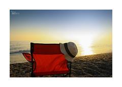 Playeando... (ngel mateo) Tags: sunset sky espaa sun sol beach hat atardecer andaluca spain playa calm shore cielo puestadesol sombrero calma almera foldingchair mediterraneansea orilla marmediterrneo elejido balerma sillaplegable ngelmartnmateo ngelmateo