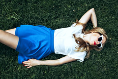 Kate (151th) Tags: blue red summer girl grass bench glasses colours bright style lips trend