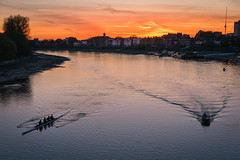 Last sunset light falls on the rowers, from Hammersmith Bridge (andyc246) Tags: sunset orange london beautiful evening early rowing riverthames hammersmithbridge lastlight rowers goldenlight lastraysofsun coxlessfour