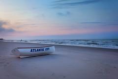 Atlantic City Sunrise... (calba) Tags: nikon nikon2470mmf28g nikond750 atlanticcity atlantic newjersey nj landscape waterscape water sea boat sunrise sky clouds dreamy beach findingthelight topaz topazsimplify4 cathyalba cathyalbaphotography