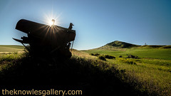 Old rusted combine and sunstar at Steptoe Butte (The Knowles Gallery) Tags: morning sky plants barn washington spring farm hills idaho crops agriculture palouse