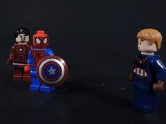 Team Iron Man (MrKjito) Tags: man america giant war iron lego spiders ant spiderman peter civil captain superhero minifig marvel universe cinematic crawl parker webs avengers