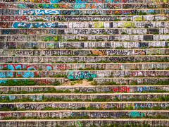 The Wall (Ulmi81) Tags: olympus omd em1 zuiko 70300 ft berlin mauerpark april 2016 steps wall stufen mauer frontal stone stein graffiti words letters painted schrift gras symmetric symmetrisch linien lines