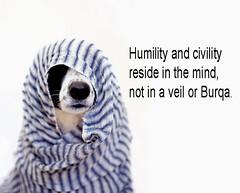 Humility and civility (B0CK) Tags: humility civility reside mind veil burqa dog burka religion politics