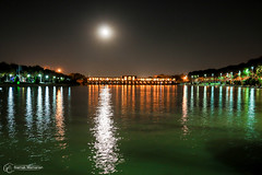 The Moon and ZayandehRoud (Siamak Memarian) Tags: bridge moon reflection night river iran esfahan isfahan zayanderoud