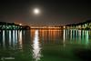 The Moon and ZayandehRoud (Siamak Memarian) Tags: bridge moon reflection night river iran esfahan isfahan zayanderoud