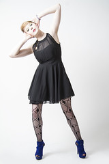 Becca (austinspace) Tags: portrait woman hat studio washington model spokane dress stripes alienbees