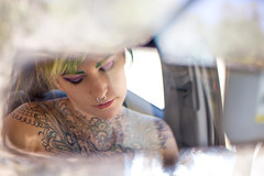 Rearview Mirror (fritzthewondermutt) Tags: hairdye girl tattoo model leah bare rearviewmirror shoulder velocity behindthescenes bts velocitygirl