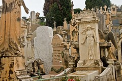 cemetery jumble 1 (PDKImages) Tags: old city blue sea sculpture france art beauty cemetery reflections bench bay coast nice thought cotedazur watching towers azure churches couples statues style grace views dome jewish solitary elegance guardians