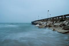 Pier (Simone S. Taddei) Tags: longexposure morning autumn sea italy beach sunrise dawn pier italia mare alba autunno spiaggia silouhette abruzzo pontile