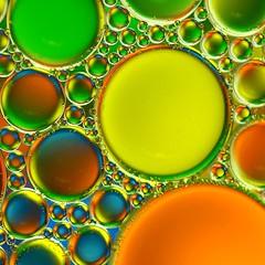 Bubbles and M&M's (Ben Wightman) Tags: blue orange macro green water yellow mms circles bubbles squareformat oil oilandwater macromondays
