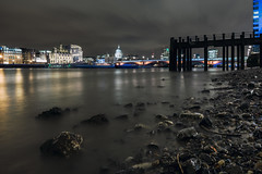 London beach (Umbreen Hafeez) Tags: city uk bridge light england london beach water st thames night river dark pier europe long exposure cityscape cathedral tide low pauls gb blackfriars