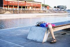 Leg (Leighton Wallis) Tags: bench newcastle sony leg australia towel 55mm nsw newsouthwales alpha f18 sandal amputee merewether merewetheroceanbaths mirrorless a7r emount ilce7r