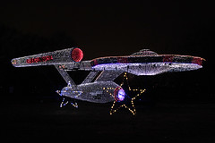 Behold the Starship 12082014 (Orange Barn) Tags: night stars lights christmaslights colored spaceship festivaloflights floats starship starshipenterprise eastpeoriaillinois eastpeoriafestivaloflights