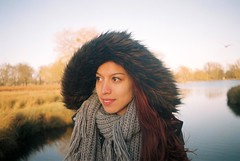 Fluffy (Gio's Photography) Tags: park winter colour film girl analog photography pentax coat richmond 200 analogue agfa bushy p30t