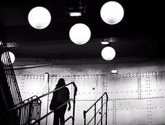 Lost (En instantan(s)) Tags: light urban blackandwhite bw white black paris monochrome silhouette stairs dark subway noiretblanc cit mtro shades