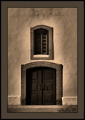 Mission Door (the Gallopping Geezer '5.0' million + views....) Tags: old white detail building history church sepia canon worship texas faith religion structure historic adobe elpaso mission 2009 geezer corel