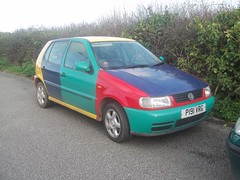 Harlequin (occama) Tags: old uk car vw volkswagen cornwall 1996 german 1997 polo harlequin p191vrg