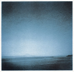 In the sea of blue (mrzick) Tags: blue sailboat darkroom blues serenity mountrainier bainbridgeisland alternative altprocess kallitype watercolorpaper moersch mt7