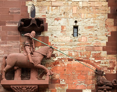 Saint George and the Dragon? (Nick in exsilio) Tags: sculpture switzerland george dragon cathedral gothic basel knight minster saintgeorge münster