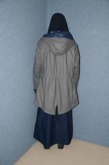 Two warm rain coats (Buses,Trains and Fetish) Tags: girl warm coat hijab sweat fleece niqab anorak slave burka chador