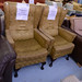 Wingback armchair mixed fabric