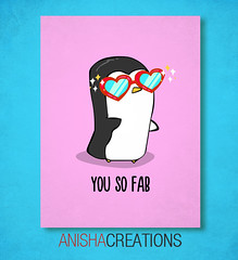 Fabulous Penguin (Anisha_Creations) Tags: pink blue red summer fab silly cute love sunglasses fashion animal hearts stars fun penguin glasses glamour funny holidays message heart lol character text sunday humor cartoon adorable doodle kawaii valentines fabulous sparks diva shinny