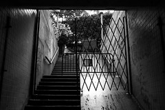 Dupont Underground (3412c) (echoey13) Tags: light shadow blackandwhite bw monochrome stairs contrast canon fence spring gate stair shadows steps entrance step noentry exit dupont entry 2016 canon70d dupontunderground