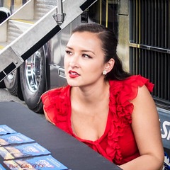 Lady in Red at C-SPAN Truck (ViewFromTheStreet) Tags: street red portrait woman classic philadelphia girl beauty lady female photography calle amazing eyes pretty pennsylvania candid streetphotography streetportrait redlipstick lipstick marketstreet blick allrightsreserved cspan ladyinred viewfromthestreet stphotographia vftsviewfromthestreet blickcalle copyright2016 copyright2016blickcalle blickcallevfts blickcallevfts