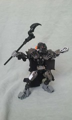 The Dark Mage (ohlookitsanartist) Tags: bionicle moc own creation lego toa mata frame black metal ccbs cape cloak armor staff huna dark mage