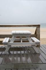 Wet Day, HBM (NJKent) Tags: uk rain bench cornwall stives porthmeorbeach
