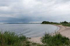 Usedom, Halbinsel Gnitz: Mwenort, the southern end of the Peninsula of Gnitz, surrounded by the Achterwasser Lagoon. Far back over the continent, dark rain clouds can be seen, but they didn't cross the water (riesebusch) Tags: usedom halbinselgnitz