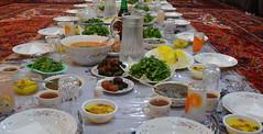 eftari (drafiei1) Tags: feast dinner iran traditional ramadhan dolma saffronrice iraniancuisine sofreh miandoab bamieh bamiyeh greenherbs saffronricepudding