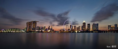 Singapore Skyline @Blue Hour  2016 (Ken Goh thanks for 2 Million views) Tags: lighting longexposure sky reflection water colors gardens by marina wonderful landscape bay flyer sand singapore pentax smooth wideangle 1020 k5 mbs the simga supertree