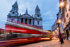 Bus Rush at St Pauls (ParmarC) Tags: st pauls london night motion blur evening golden hour building bus vehicle long exposure red vibrant street
