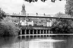 20160626-02_River Crossing_Shrewsbury Footbridge (gary.hadden) Tags: bw footbridge riversevern shrewsbury suspended suspensionbridge rivercrossing blackansdwhite