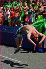 Flipping Out (HereInVancouver) Tags: vancouver bc canada denmanstreet prideparade backflip outdoors