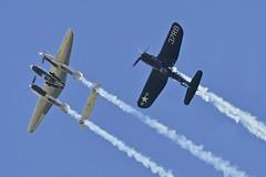 Flying Bulls: Lockheed P-38L Lightning and Chance Vought F4U-4 Corsair, Flying Legends, 2016 (Peter Cook UK) Tags: show flying air bulls airshow legends duxford corsair chance lightning lockheed 2016 p38 f4u4 vought p38l