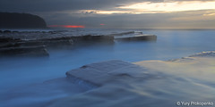 Blue and a little bit of red (renatonovi1) Tags: turimetta blue bluehour red sunrise beach sea ocean water flow rocks clouds seascape landscape sydney nsw australia