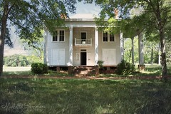 from cotton plantation to tenant farm to abandoned (SouthernHippie) Tags: cotton sad dark slavery tenantfarmer forgotten farmhouse farm white green georgia neoclassical architecture house history historic home empty exploring south southern sky fadingamerica rural ruin rurex countryside woods sunshine wow decay shadows sunlight grass abandoned